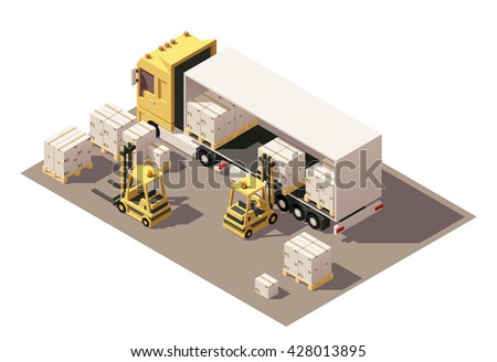 Vector Isometric icon or infographic element representing semi-trailer and forklift loading pallets with cardboard boxes. Low poly style - stock vector