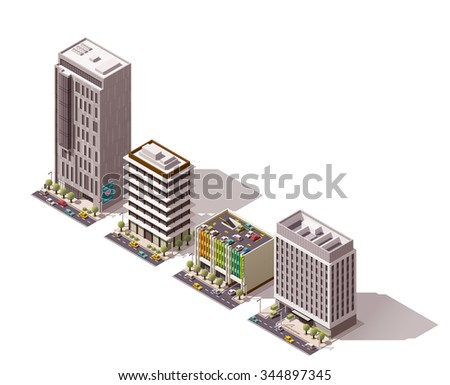 Vector isometric icon set or infographic element set representing city building, skyscraper, car parking, store, shop, office or house with street elements, road and cars - stock vector