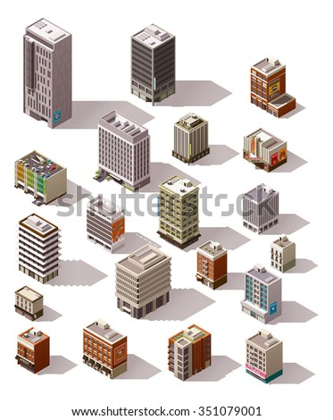 Vector isometric icon set or infographic elements representing different town buildings - houses, skyscrapers, offices, shops and stores, restaurant, cafe for map creation - stock vector