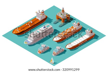 Vector isometric icon set or infographic elements representing low poly cargo container ship, oil tanker ship, passenger cruise ship, ferry loaded with cars and oil platform - stock vector