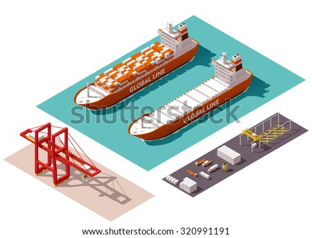 Vector isometric icon set or infographic elements representing low poly cargo port crane, loaded and unloaded container ship, trucks, forklifts - stock vector