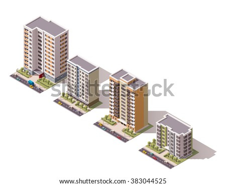 Vector isometric icon set or infographic elements representing low poly town apartment buildings and houses with street roads and cars for city map creation - stock vector