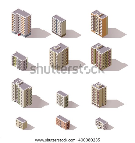 Vector isometric icon set or infographic elements representing low poly town apartment buildings and houses for city map creation - stock vector