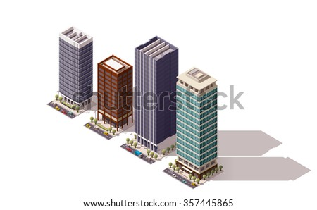 Vector isometric icon set or infographic elements representing low poly town skyscraper apartment and  office buildings with street roads and cars for city map creation - stock vector