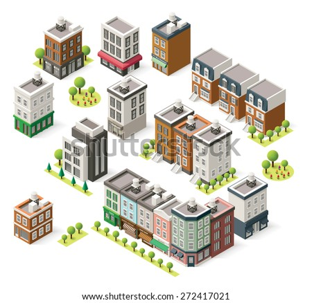 Vector isometric icon set representing  city buildings, houses and shops  - stock vector