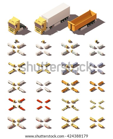 Vector Isometric icon set representing trucks or tractors with semi-trailers in four views with different shadows. Included different types of trailers - stock vector