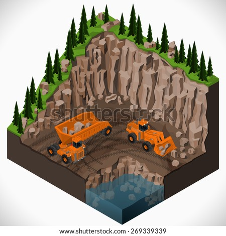 Vector isometric illustration of a mining quarry, heavy-duty dumper and a articulated backhoe excavator. Equipment for high-mining industry. - stock vector