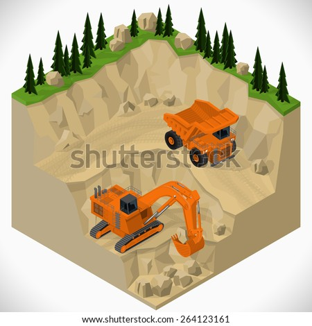 Vector isometric illustration of a mining quarry, heavy-duty truck and a mining excavator. Equipment for high-mining industry. - stock vector