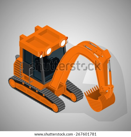Vector isometric illustration of a mining tracked excavator. Equipment for high-mining industry. - stock vector