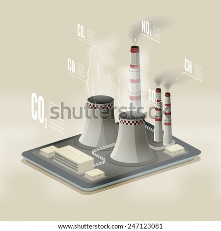 Vector isometric illustration of a plant polluting air. Environmental pollution infographic. - stock vector