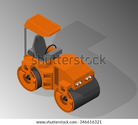 Vector isometric illustration of a road roller. Equipment for the construction industry.