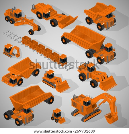 Vector isometric illustration of a set of heavy-duty trucks, mining excavators, articulated backhoe excavator, dumpers, grader, mining train. Equipment for high-mining industry. - stock vector