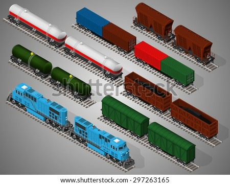 Vector isometric illustration of a set of railway trains consisting of locomotives, platforms for transportation of containers, covered wagons, cisterns, and rail cars for bulk cargoes. - stock vector