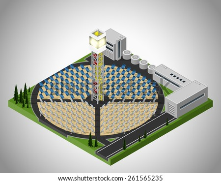 Vector isometric illustration of a solar power station. Extraction of energy from renewable sources. Generation of electricity using solar energy. - stock vector