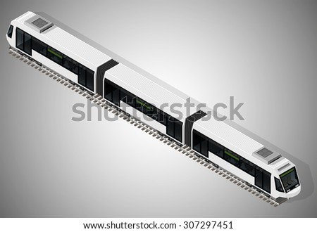 Vector isometric illustration of a subway train. Vehicles designed to carry large numbers of passengers. - stock vector
