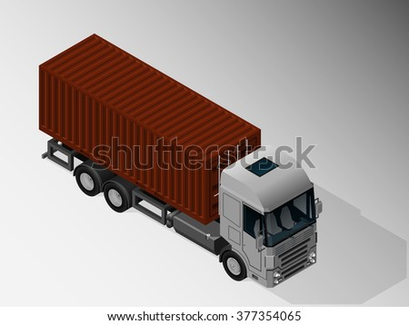 Vector isometric illustration of a truck for transportation of shipping containers. Equipment for cargo delivery.