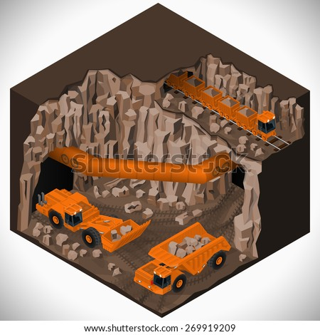 Vector isometric illustration of a underground mining quarry, articulated dump truck, mining train and a articulated backhoe excavator. Equipment for high-mining industry. - stock vector