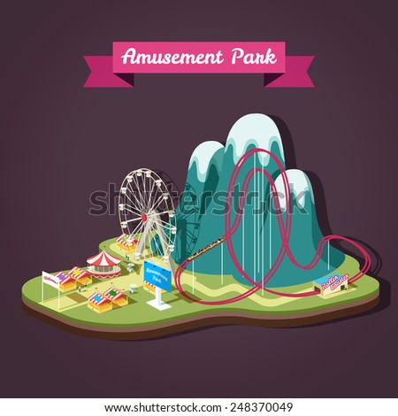 Vector isometric illustration of Amusement Park with different attractions. - stock vector