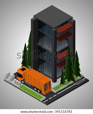 Vector isometric illustration of an element of urban infrastructure. Garbage truck transports the trash. Equipment for maintenance of urban infrastructure. - stock vector
