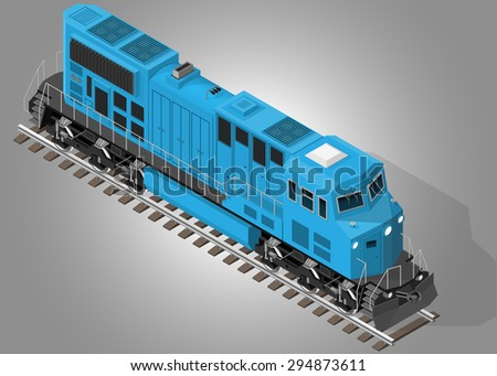 Vector isometric illustration of diesel electric locomotive. Front view. Rail transportation. - stock vector