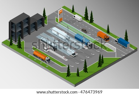 Vector isometric illustration of fuel station and the surrounding road infrastructure.