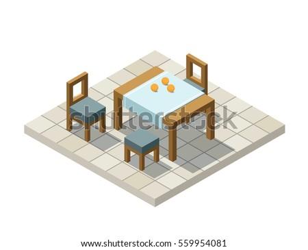home element furniture. Vector Isometric Illustration Of Kitchen Furniture, 3d Flat Design Home Element, , Interior Element Furniture L