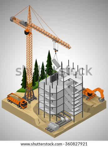 Vector isometric illustration of the construction site and technique involved in the construction. Tower crane, truck and crawler excavator. - stock vector