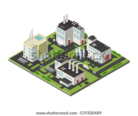 Vector Isometric Industrial Cityscape icon illustration.