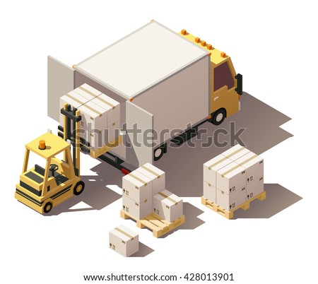 Vector Isometric infographic element or icon representing box truck and forklift loading pallets with cardboard boxes. Low poly style - stock vector
