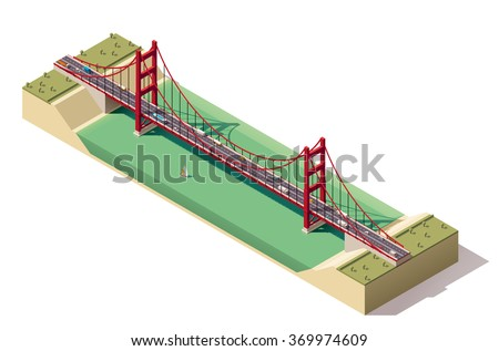 Vector Isometric infographic element or icon representing cars, trucks and buses driving on Golden Gate suspension bridge in San Francisco, California, USA - stock vector