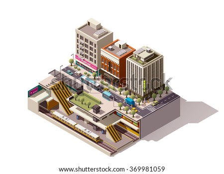 Vector Isometric infographic element or icon representing low poly cross-section of the street with buildings and underground metropolitan station. Subway train, escalator, platform are visible - stock vector