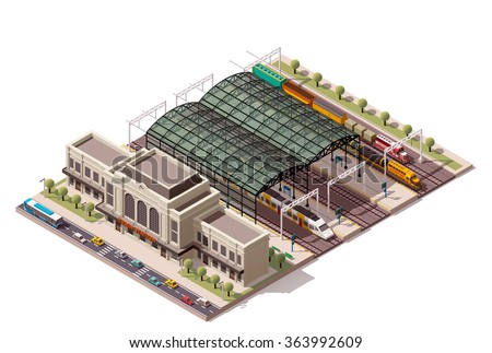 Vector isometric infographic element or icon representing low poly public train station building with cargo and passenger trains, platform, related infrastructure - stock vector