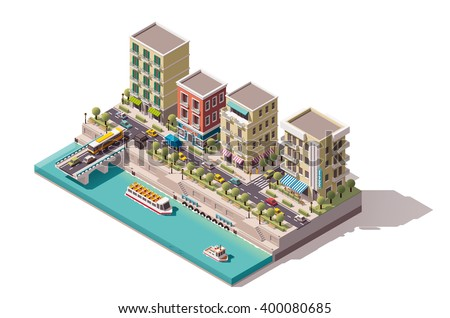 Vector Isometric infographic element or icon representing low poly town street with buildings, stores and cafe on the river bank. Tourist cruising ship passed under the bridge and arriving to the pier - stock vector