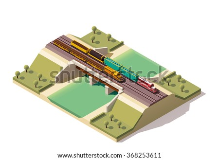 Vector isometric infographic element or icon representing low poly train bridge with cargo locomotive and cars passing by railway over the river  - stock vector