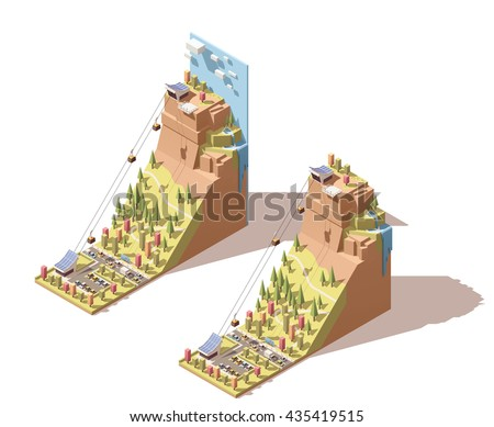 Vector Isometric infographic element or icon representing travel on cableway from the lower station to the viewing platform on mountain with waterfall - stock vector