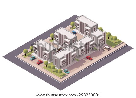 Vector isometric infographic element representing map of the small town or suburb with buildings and cars on the streets