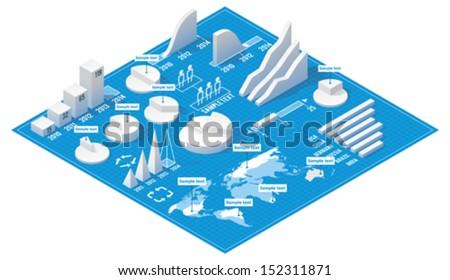 Vector isometric infographic elements - stock vector