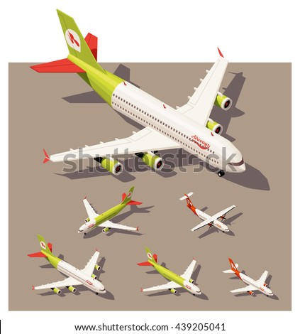 Vector Isometric infographic elements set representing commercial passenger airplanes. Different classes of jet and propeller engine airplanes in low poly style - stock vector