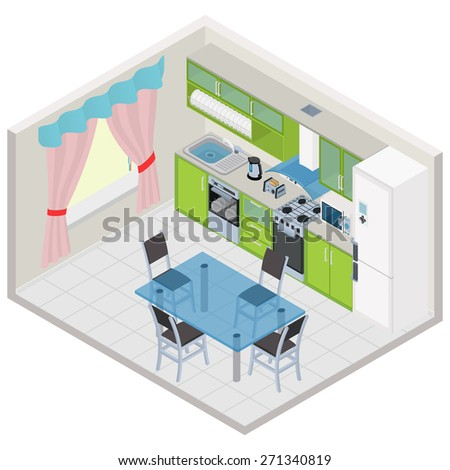 Vector isometric kitchen interior - stock vector
