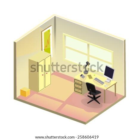 Vector isometric light office  - stock vector