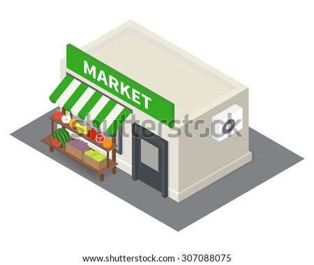 Vector isometric market stalls with fruits. Flat building icon - stock vector