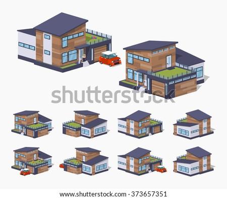 Vector isometric modern house. Isometric 3d modern house. Isometric low poly modern house. Isometric cartoon modern house. Isometric modern house set. Isometric modern house collection. - stock vector