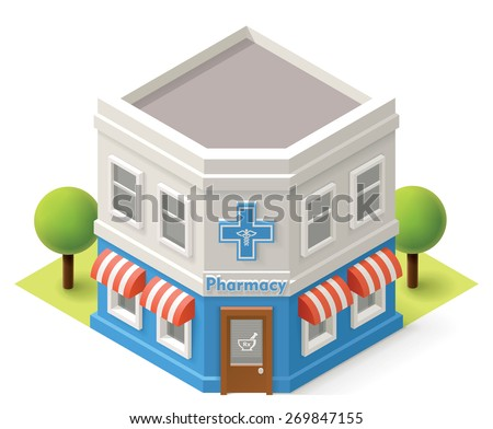 Vector isometric pharmacy building icon - stock vector