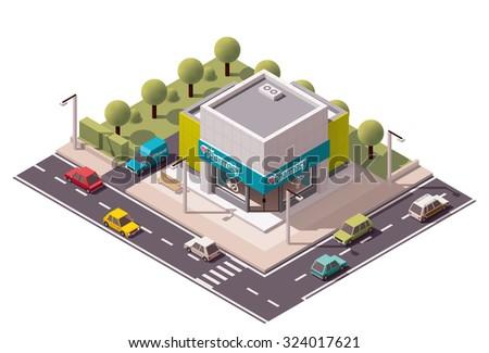 Vector isometric pharmacy building icon - stock vector