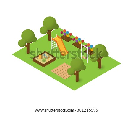 Vector isometric playground. Flat building map icon