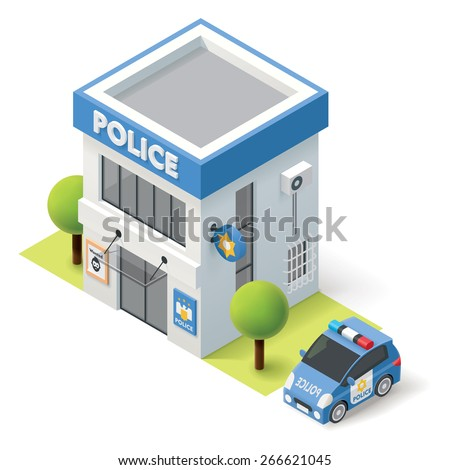 Vector isometric police department building icon - stock vector