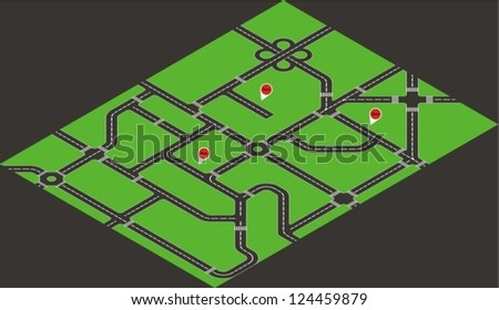 Vector isometric road map - stock vector