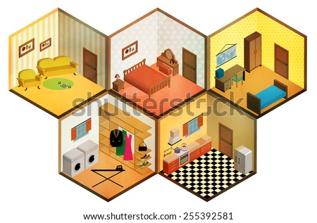Vector isometric rooms icon - stock vector