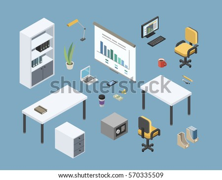 Vector Isometric Sat Of Office Furniture 3d Flat Interior Design Elements Working Place Icons