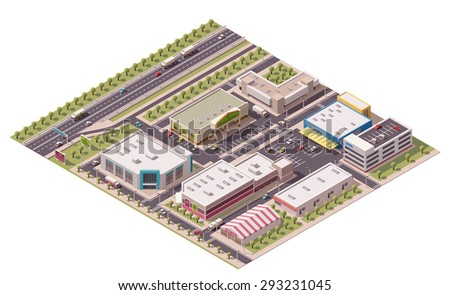 Vector isometric shopping district with shops and parking lots - stock vector
